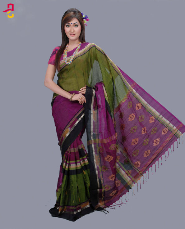 Maslise Silk Cotton Tangail Saree HAT-802