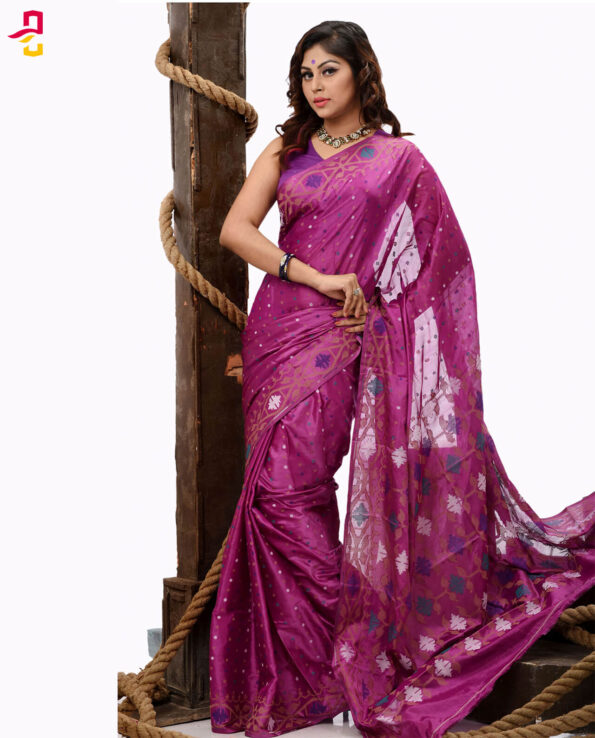 Pure Soft Silk Jamdani Tangail Saree HHS-470