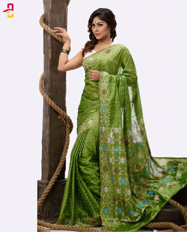Pure Soft Silk Jamdani Tangail Saree (সিল্ক জামদানি শাড়ি) HHS-474