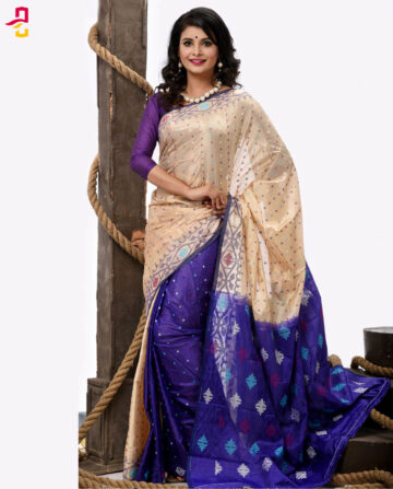 Pure Soft Silk Jamdani Tangail Saree (সিল্ক জামদানি শাড়ি) HHS-477
