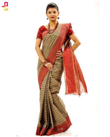 Pure Cotton Check Tangail Sari (সুতি শাড়ি) HHS-507