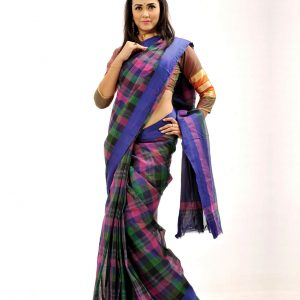 Pure Cotton Grameen Check Tangail Sari (সুতি শাড়ি) HHS-517