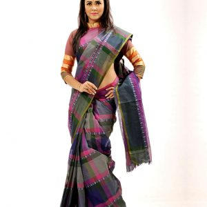 Pure Cotton Grameen Check Tangail Sari (সুতি শাড়ি) HHS-519