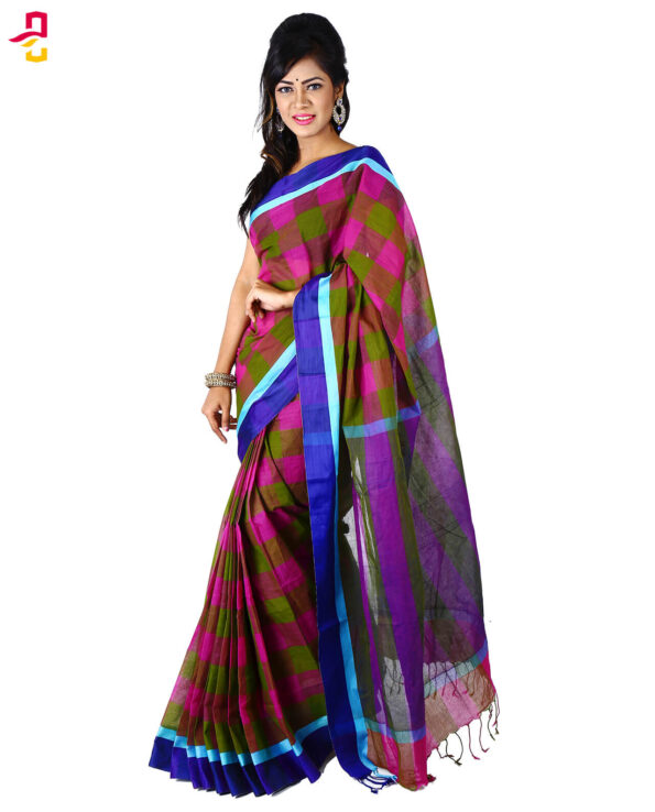 Cotton Grameen Check Tangail Sari HMT-245
