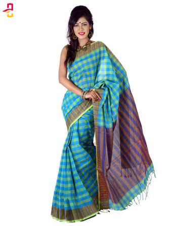Cotton Grameen Check Tangail Sari HMT-259