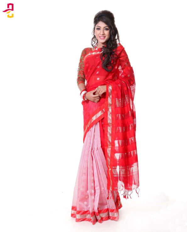 Mercerized Muslin Silk Tangail Saree HRB-164