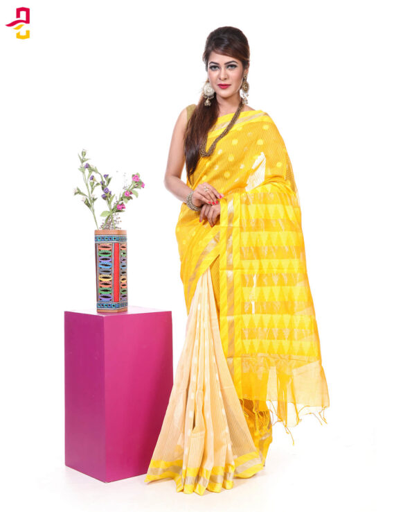 Mercerized Muslin Silk Tangail Saree HRB-166