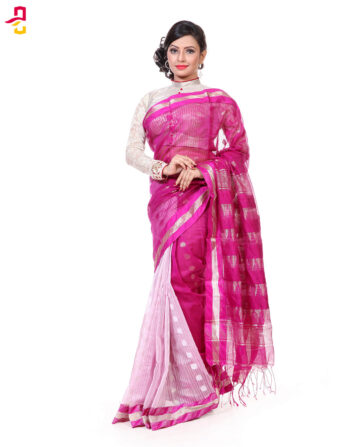 Mercerized Muslin Silk Tangail Saree HRB-167