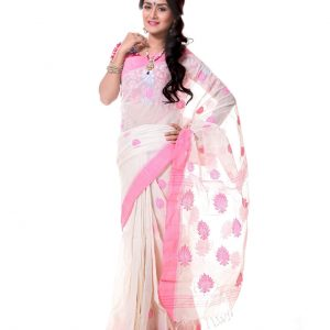 Mercerized Muslin Silk Handwork Tangail Saree HRB-188