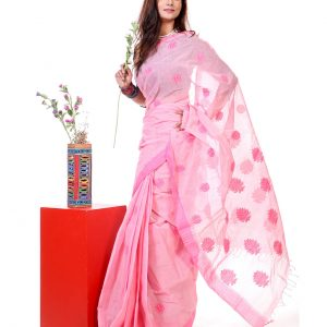 Mercerized Muslin Silk Handwork Tangail Saree HRB-189