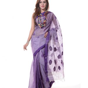 Mercerized Muslin Silk Handwork Tangail Saree HRB-190