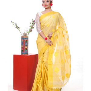 Mercerized Muslin Silk Handwork Tangail Saree HRB-191