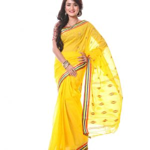 Mercerized Muslin Cotton Handwork Tangail Saree HRB-192